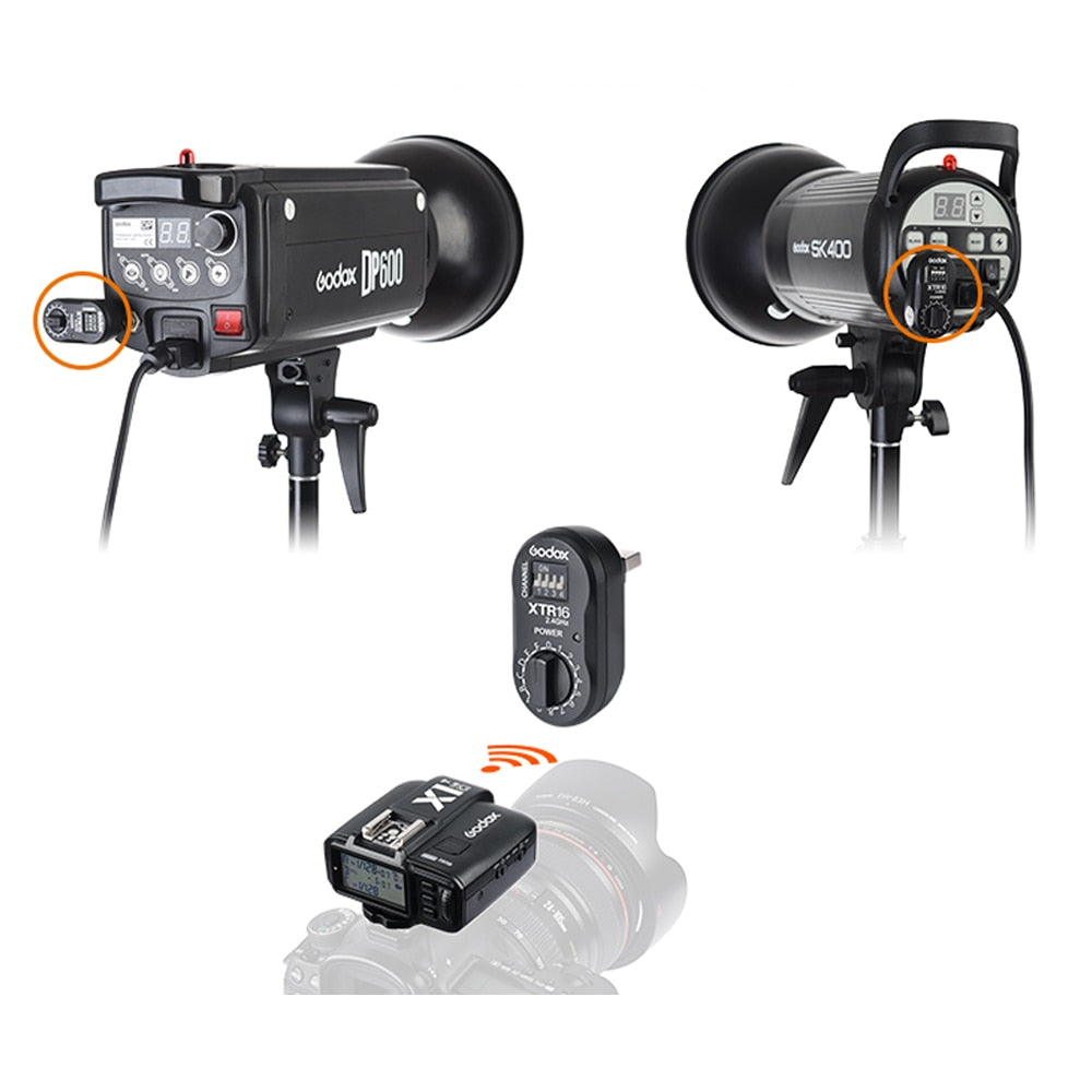 Godox XTR-16 Wireless 2.4G Power Control Flash Receivers + X1T-C TTL Wireless Transmitter for Canon Godox DE300 DE400 SK400 - Mode de vie Photography and Photo Presets