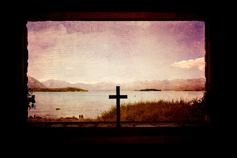 Photo of a window and a cross with a mountain and view of Lake Tekapo.  With quote 'happiness lies within'. Church of the Good Shepherd church window with textures added in Photoshop.