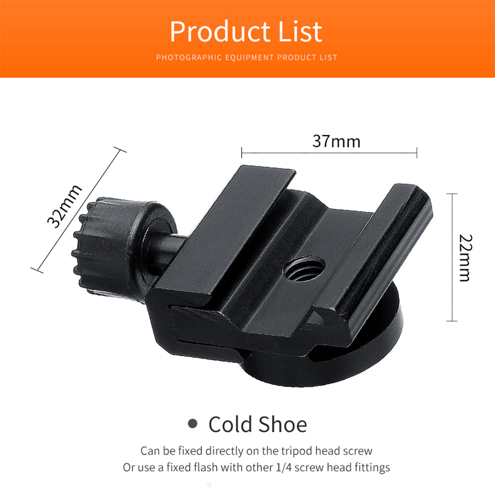 High-Quality Metal Tripod Cold Hot Shoe Mount Adapter Base Bracket with 1/4 Mounting - Mode de vie Photography and Photo Presets