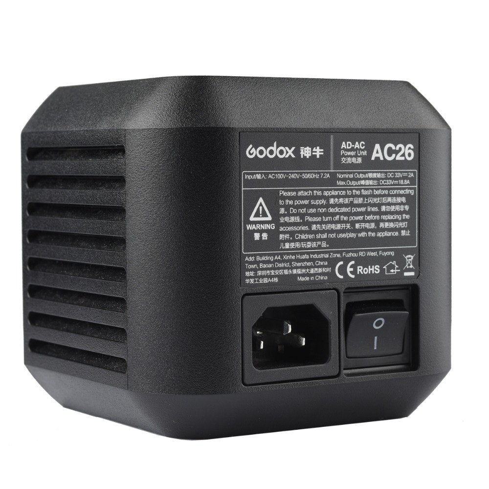 In Stock Godox AC26 AC Power Unit Source Adapter with Cable for AD600PRO Outdoor Flash - Mode de vie Photography and Photo Presets