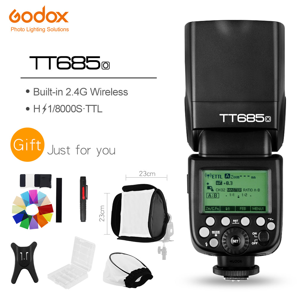 In Stock Godox TT685O 2.4G HSS 1/8000s i-TTL GN60 Wireless Speedlite Flash - Mode de vie Photography and Photo Presets