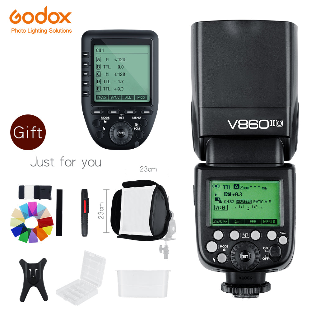 In Stock Godox V860II-O GN60 TTL HSS 1/8000s Speedlite Flash w/ Li-ion Battery + Xpro-O - Mode de vie Photography and Photo Presets