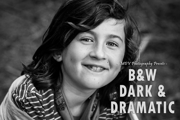 B W Dark & Dramatic Lightroom preset - Young girl crouching down smiling at camera BW