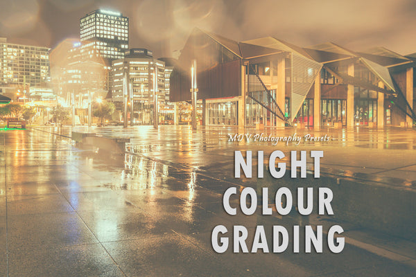 Night colour grading lightroom preset header page - night shot of buildings
