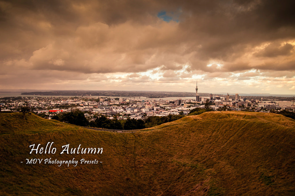 After lightroom preset 'Hello Autumn' applied - city buildings in the distance with a volcanic crater in the foreground (Auckland City from Mt Eden)