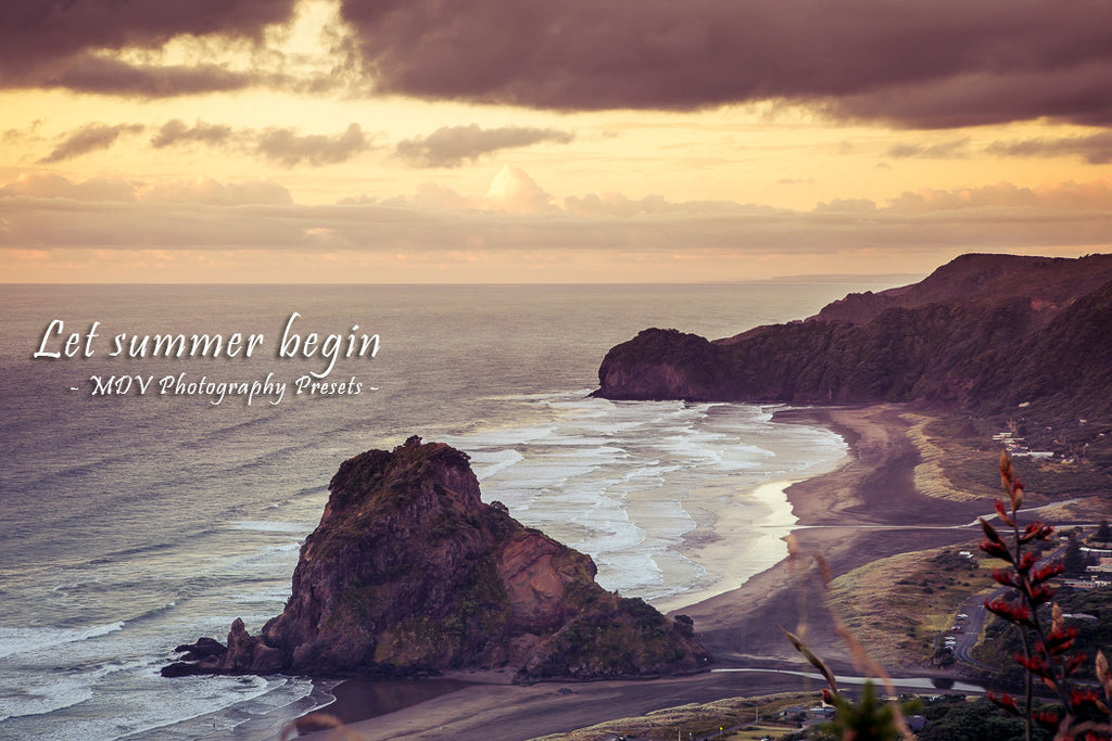 After lightroom preset 'Let summer begin' applied - beach, waves and coastline from a high viewpoint (Piha Beach with Lion Rock)