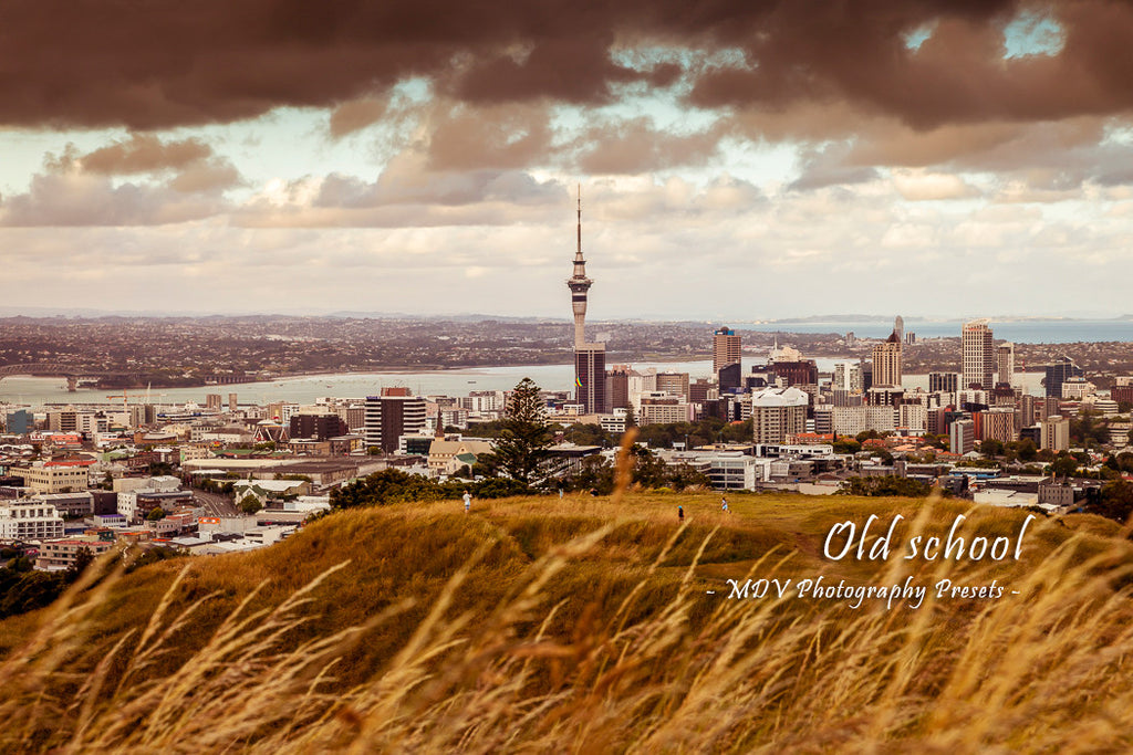After lightroom preset 'Old school' applied - city building in the distance with grass and volcanic crater in foreground (Auckland City view from Mt Eden)