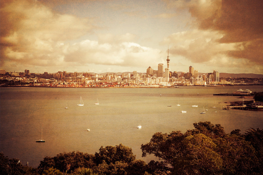 Photo of Auckland City from Devonport with a photoshop texture added to it.