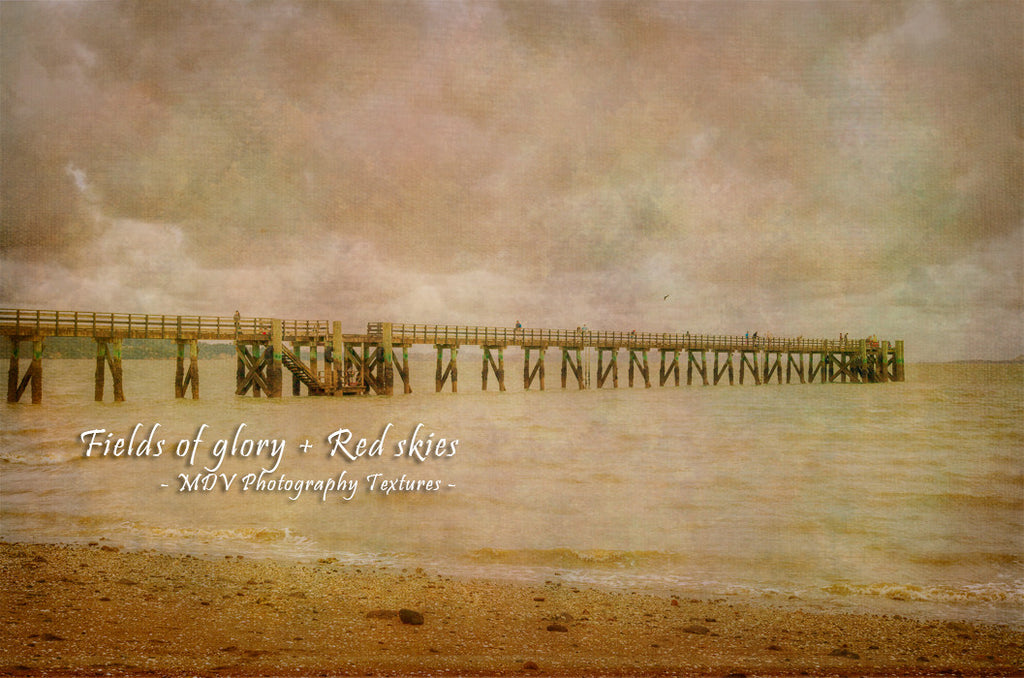 Photo of a pier at Cornwallis, Auckland with a Photoshop texture on the image.