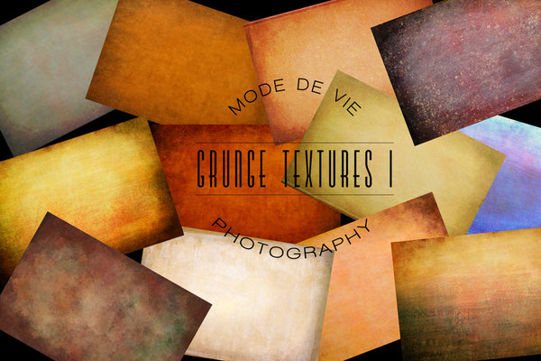 Photo of 12 photoshop textures with varying colours.