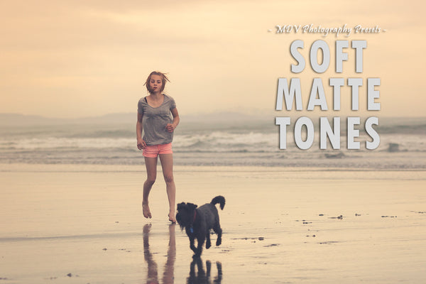 Soft Matte Tones lightroom preset header page - girl running on the beach with her dog