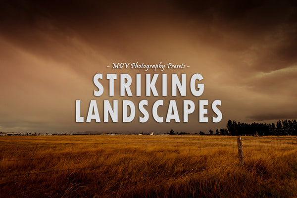 Striking Landscapes lightroom preset header page - a field with storm clouds and lighting above