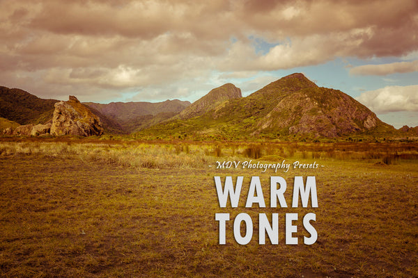 Warm Tones lightroom preset header page - hills in background, grass in foreground