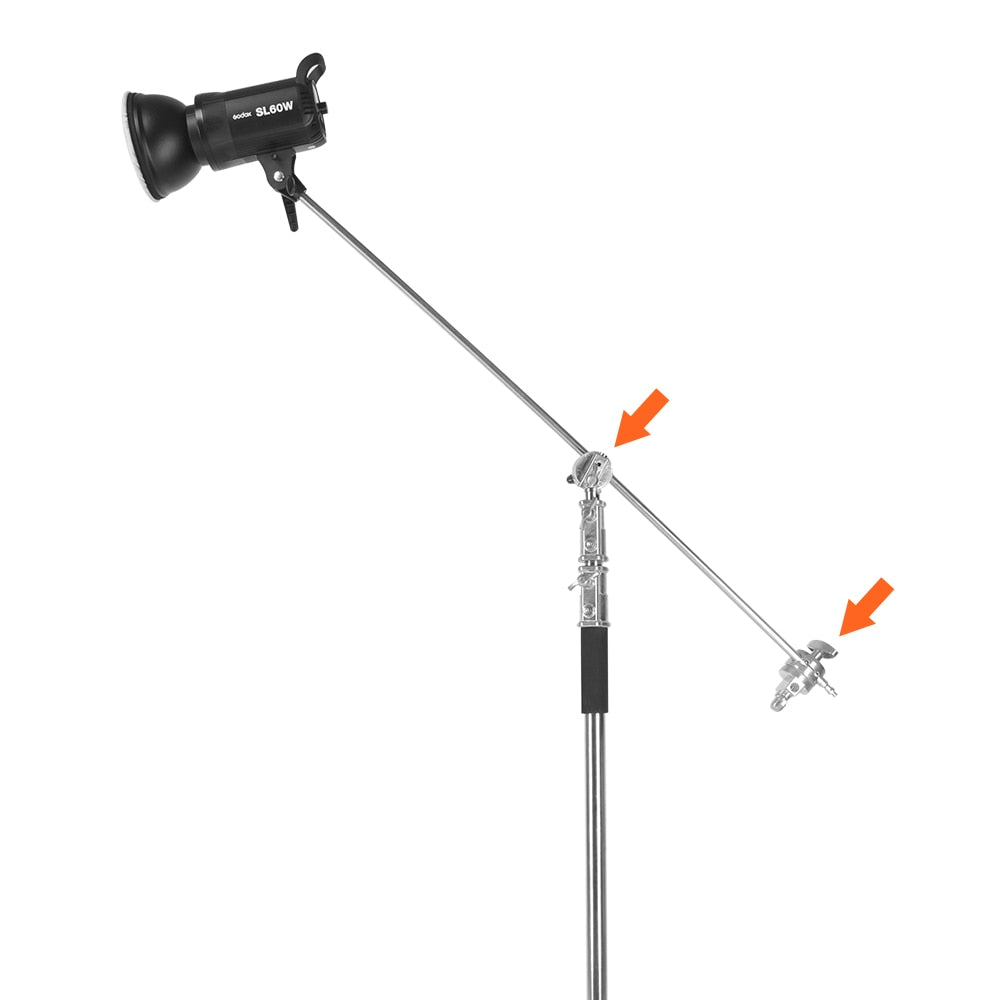 Light Stand Pole: Metal Grip Head For Boom Arm Extension Pole Cross Bar