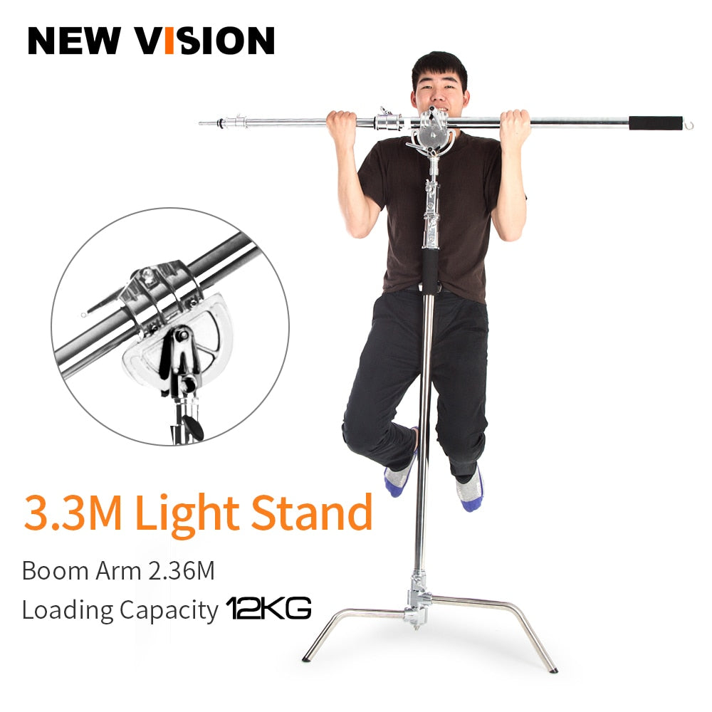 Metal Max Height 330cm Adjustable Reflector Stand with 115-236cm Holding Boom Arm - Mode de vie Photography and Photo Presets