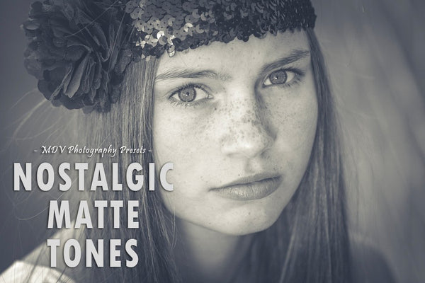 Nostalgic Matte Tones lightroom preset header page - close up of adolescent girl with flower in hair