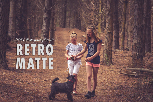 Retro Matte lightroom preset header page - 2 girls walking in the forest with their dog