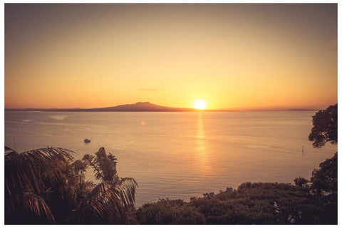 Sunrise photo of Rangitoto Island.