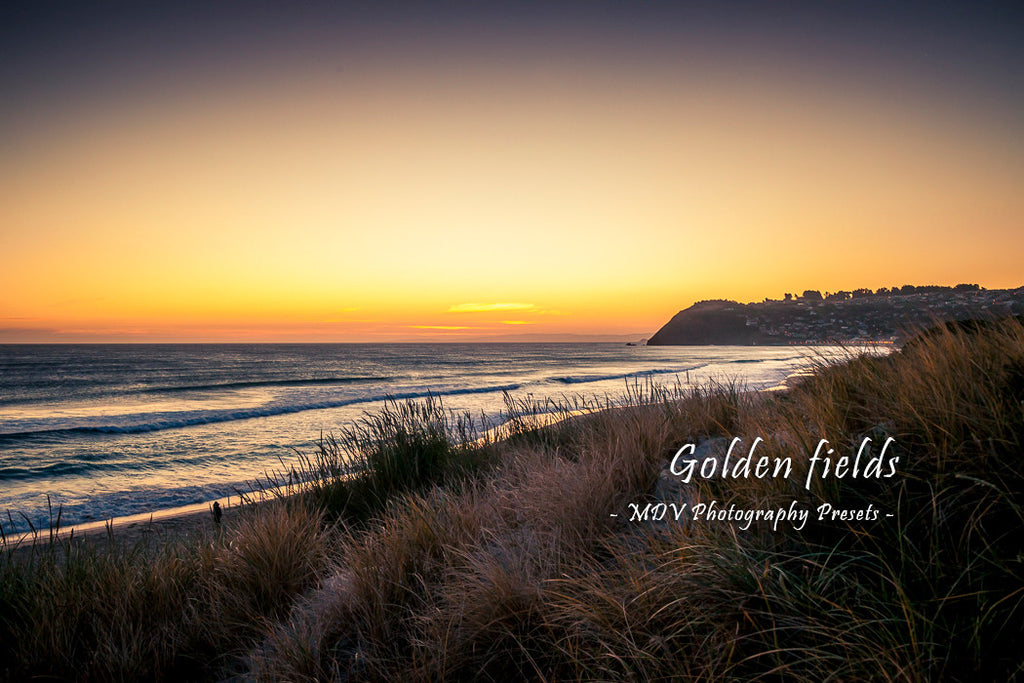After lightroom preset 'Golden fields' applied - beach at dusk with sun glow on the horizon (St Clair Beach, Dunedin)