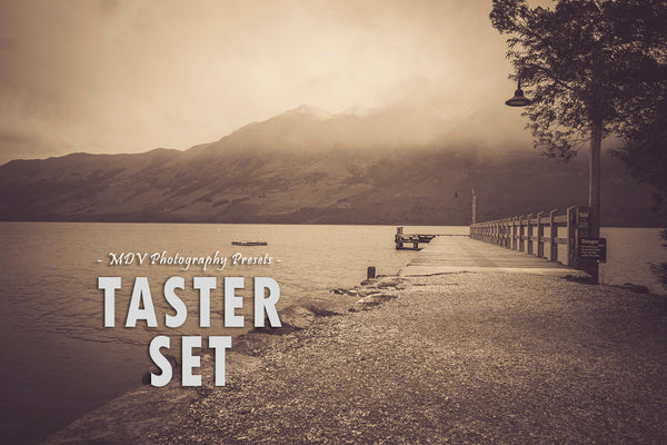 Taster set Lightroom presets header page - wharf with water and mountains sepia toned