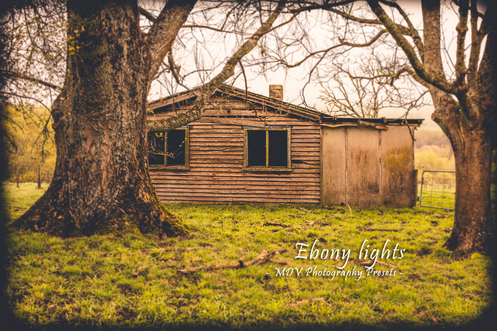 After lightroom preset 'Ebony lights' applied - old farm house with two trees in the foreground, black border surrounds image