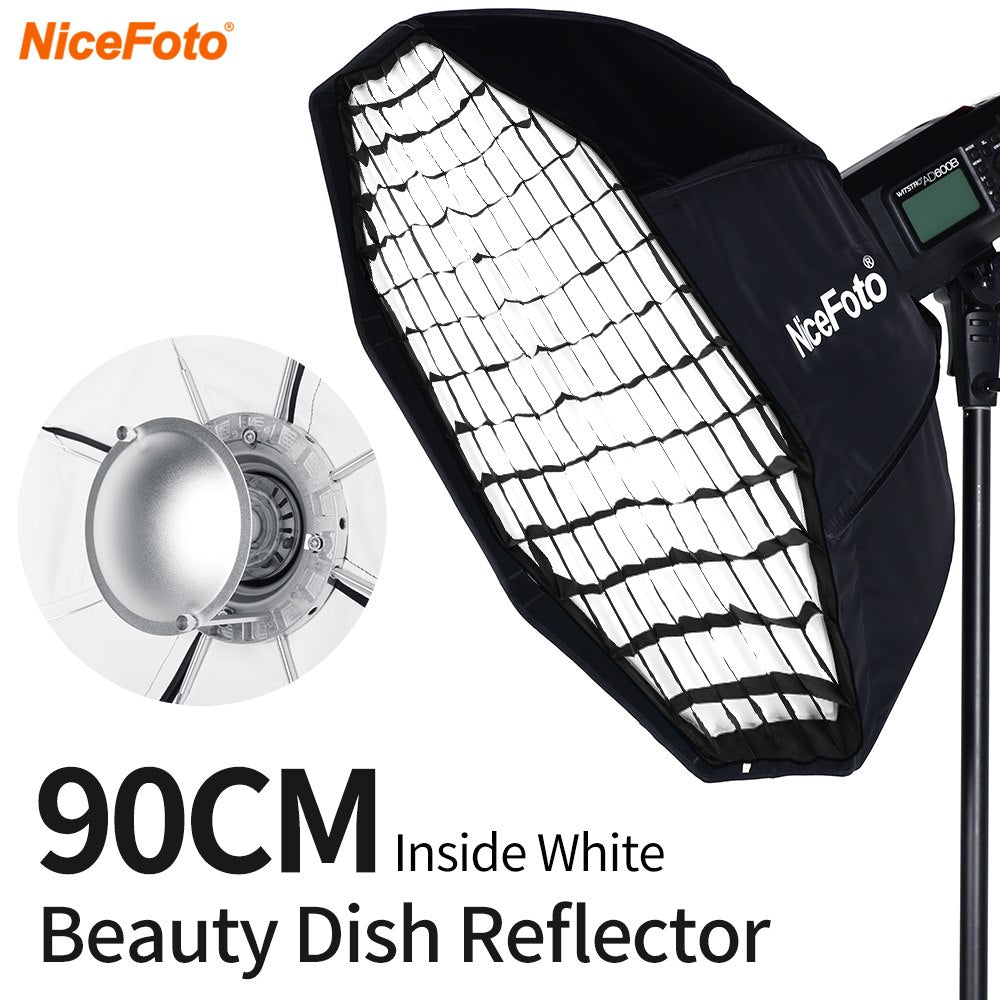 White Beauty Dish Softbox 8-Pole 90cm with Honeycomb Grid Folding Beauty Softbox - Mode de vie Photography and Photo Presets