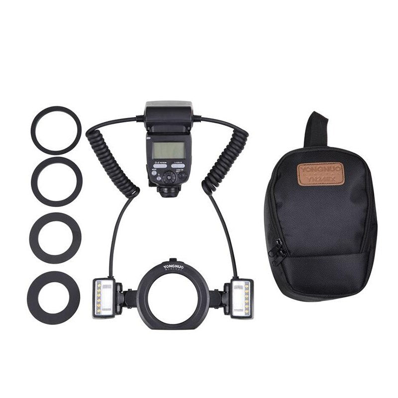 YONGNUO YN-24EX Macro Ring Flash Speedlite with 2 Flash Head 4 Adapter Rings for Canon - Mode de vie Photography and Photo Presets