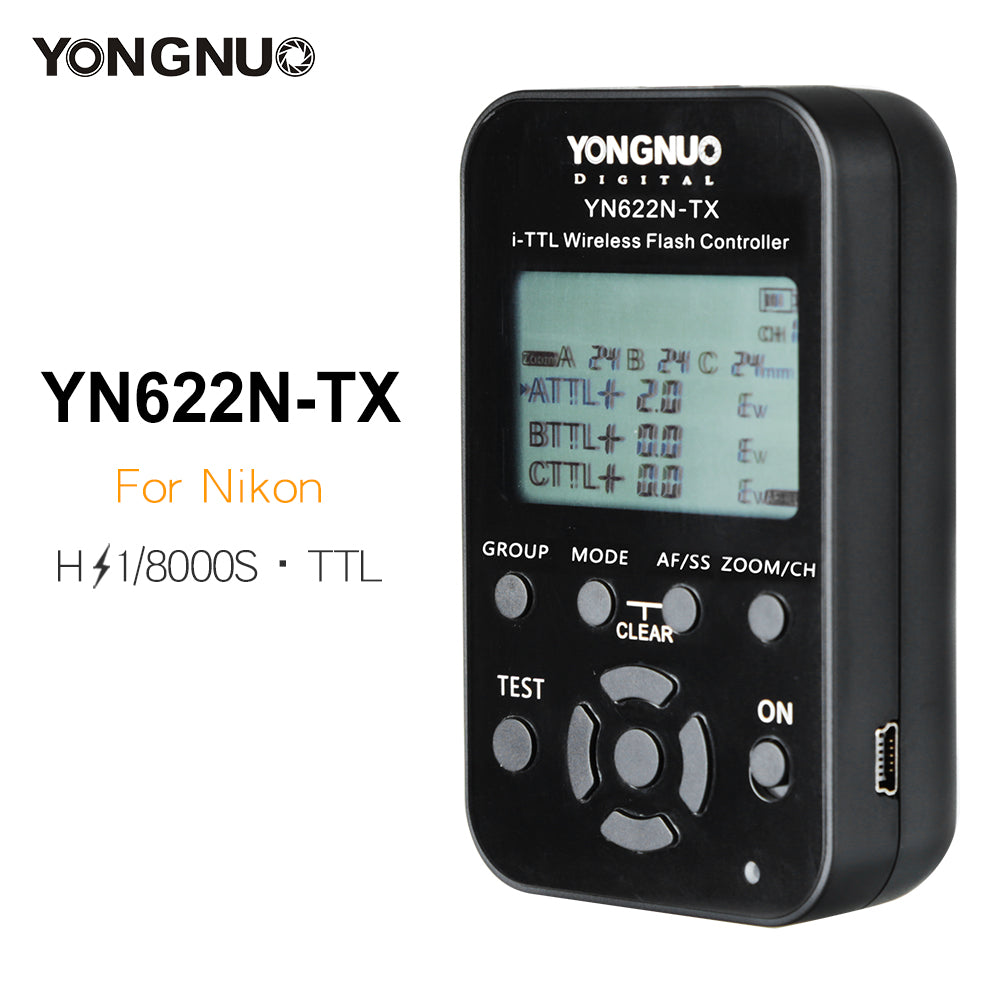 Yongnuo YN-622N-TX YN622N-TX Transmitter LCD Wireless i-TTL Flash Controller 1/8000s Trigger Transmitter for Nikon DSLR - Mode de vie Photography and Photo Presets
