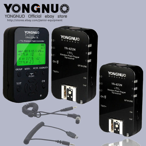 Yongnuo YN622N-TX +2PCS YN-622N TTL flash trigger with 2 cables for Nikon - Mode de vie Photography and Photo Presets