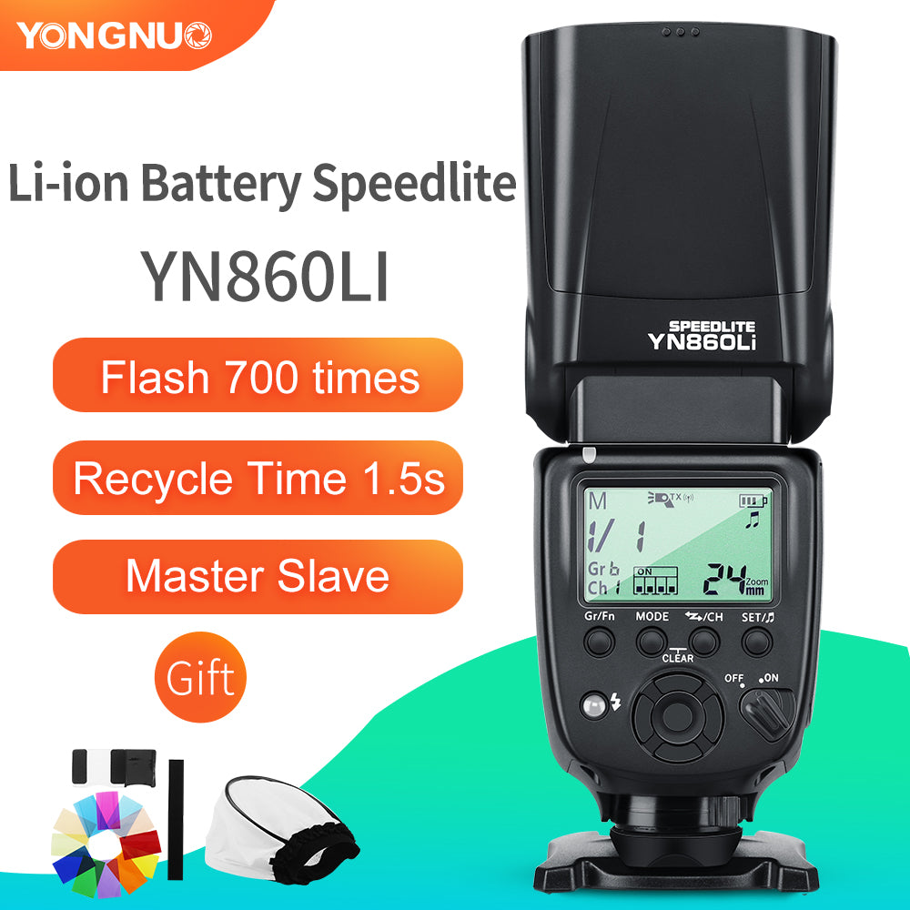 Yongnuo YN860Li Wireless Flash Speedlite Lithium Battery Flash Light for Nikon Canon - Mode de vie Photography and Photo Presets