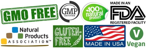 IBS Treatment Badges - FDA Vegan GMO free Gluten free GMP Made in USA