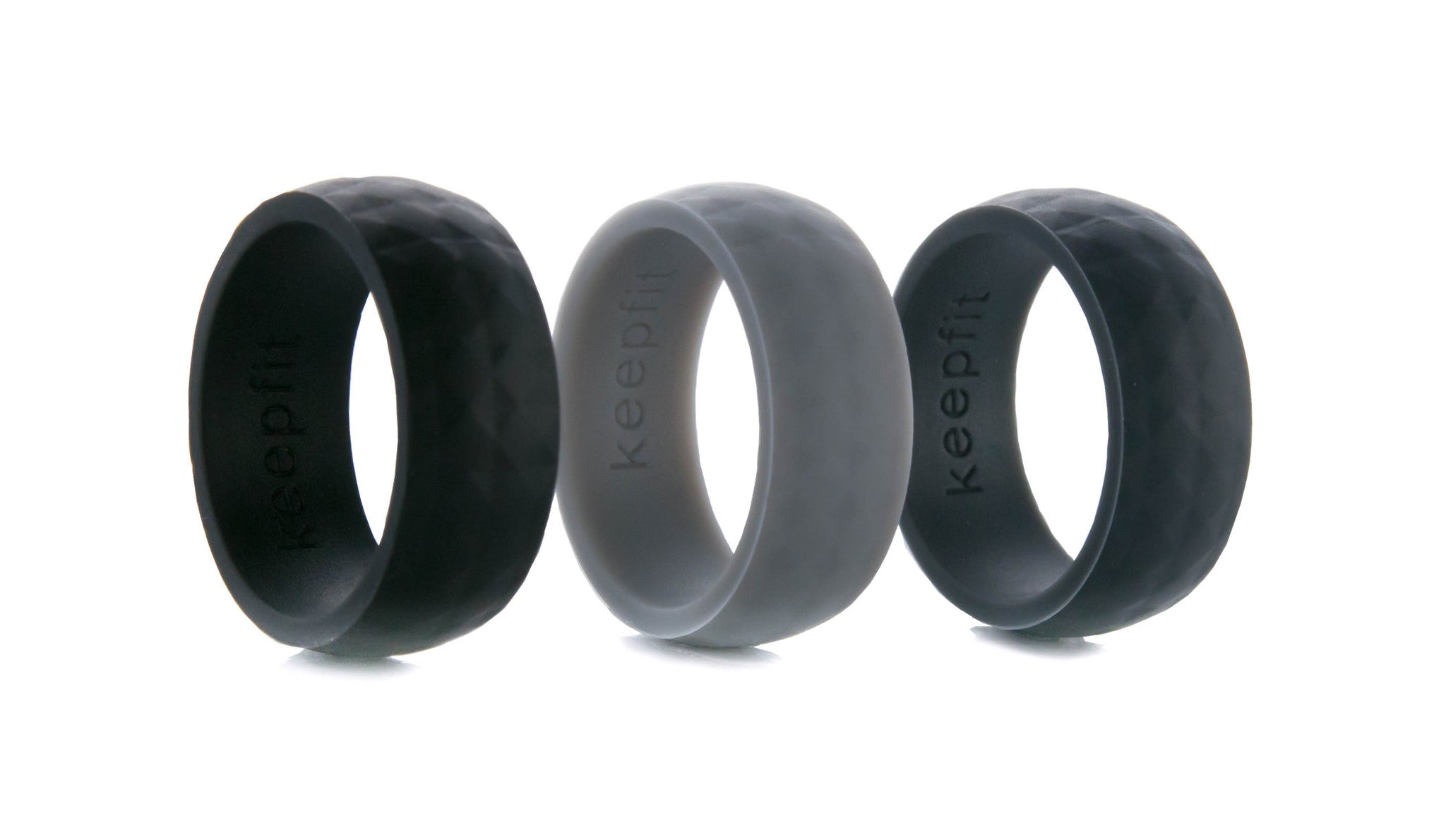 Mens Silicone Wedding Ring Modern Design Set of 3 KeepFit Products