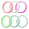 Womens Silicone Ring Diamond Pattern - 6 Pack - Mint, Pink, ,Lavender, White, Mist Grey, Purple