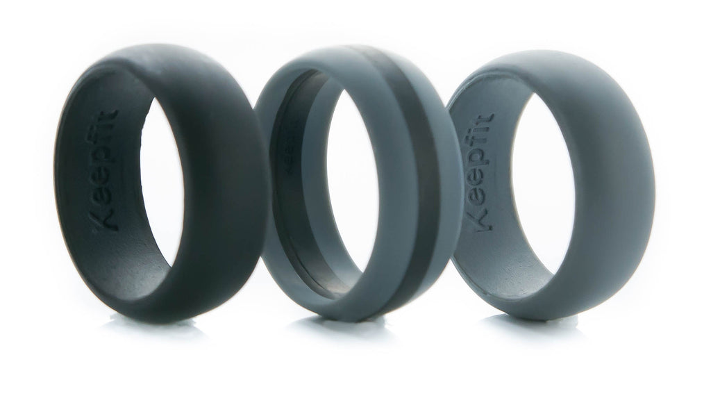 black rings band silicone hypoallergenic grande wedding grey sizes products bands