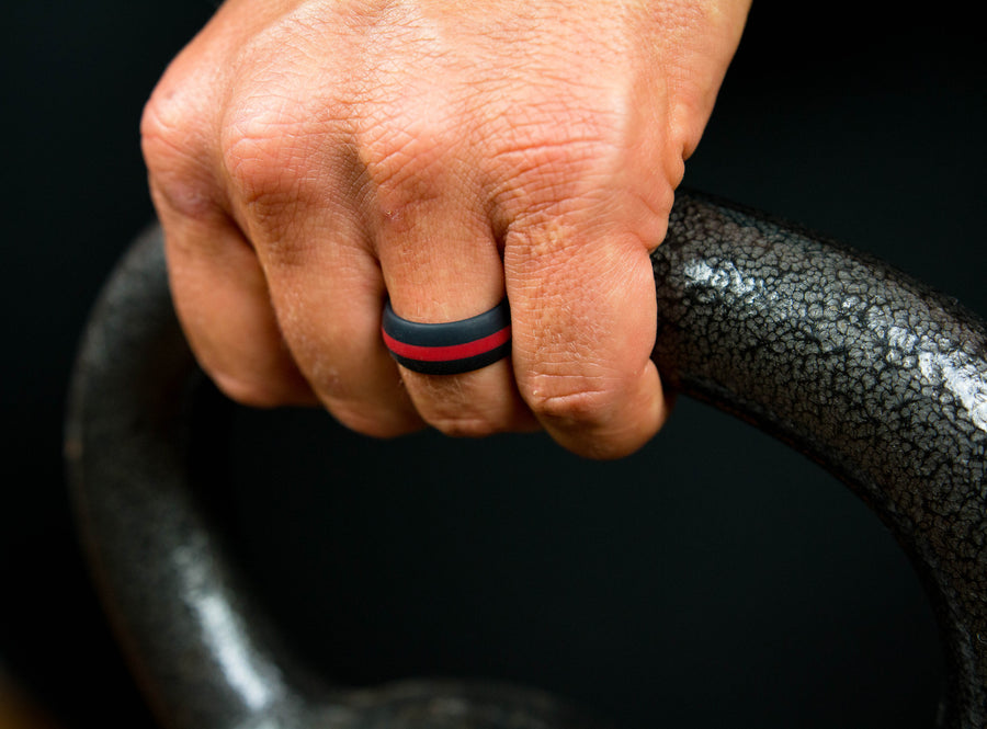 Black with Red Stripe Silicone Wedding Rings by KeepFit
