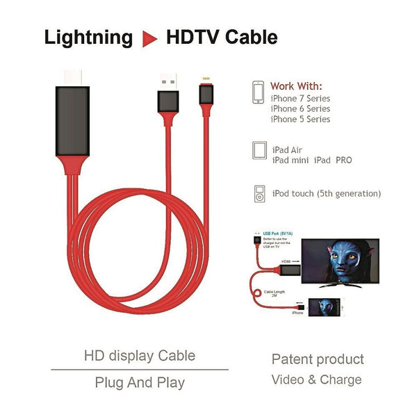 newest collection 3d23f a8b70 Lightning USB 2.0 to HDMI HDTV AV Adapter Cable -iPhone