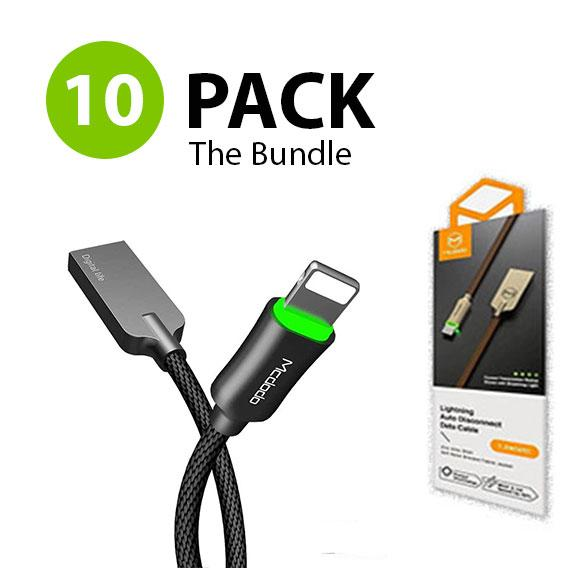 The BUNDLE 10X -  MCDODO Lightning Bolt - Smart Braided Charging Cable