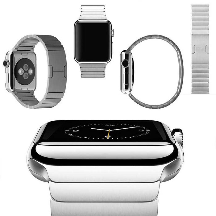 Stainless Steel Linked Apple Watch Band w/Butterfly Lock