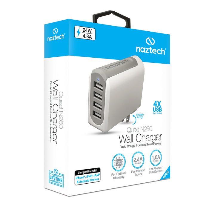 Naztech N260 Quad USB 4.8A Travel Charger