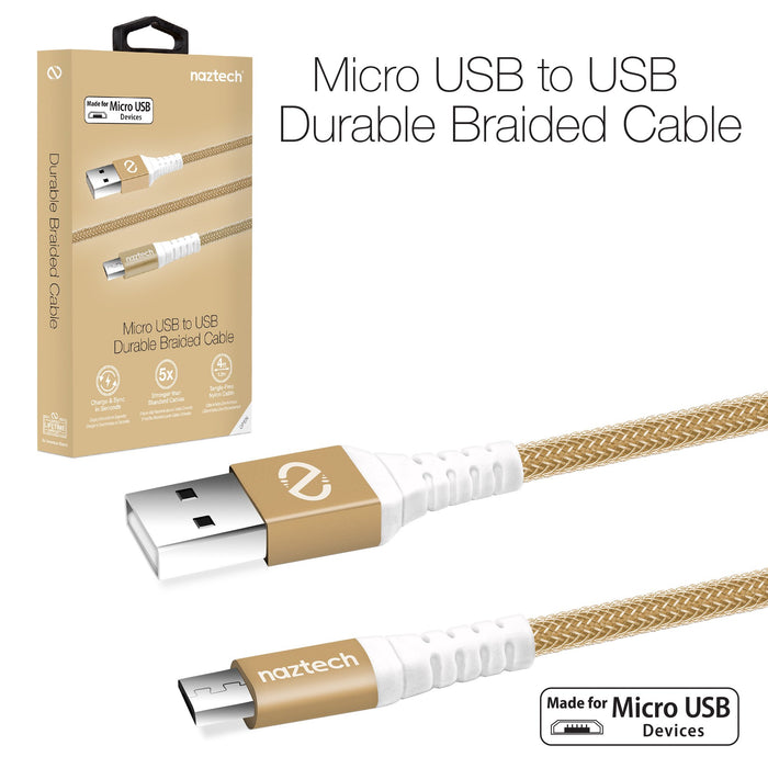 Naztech Braided Micro USB Charge & Sync Cable  -4ft