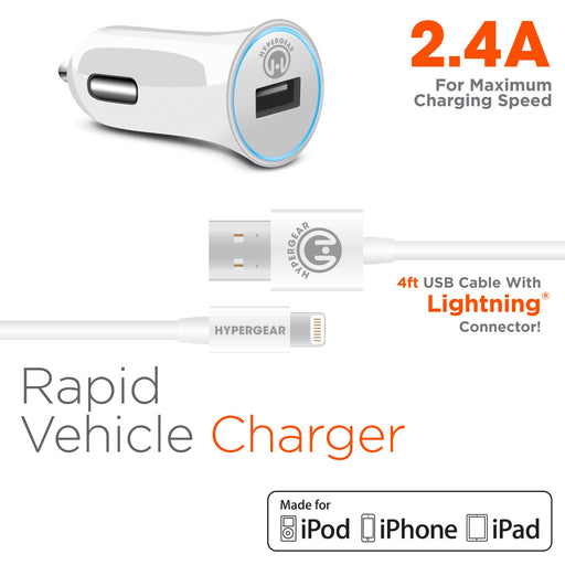 2.4A Rapid Vehicle Charger - Includes 4ft MFi Lightning Cable - White