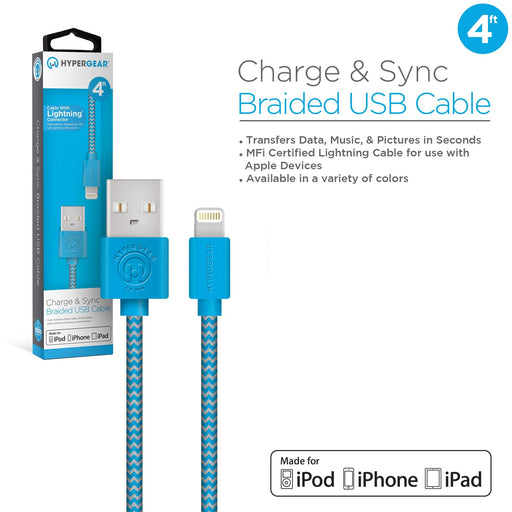 Braided MFi Lightning 4ft. Charge & Sync Cable