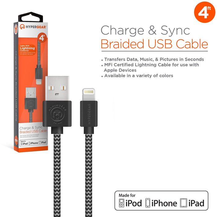 HyperGear MFi Lightning Braided 4ft. Charge & Sync Cable