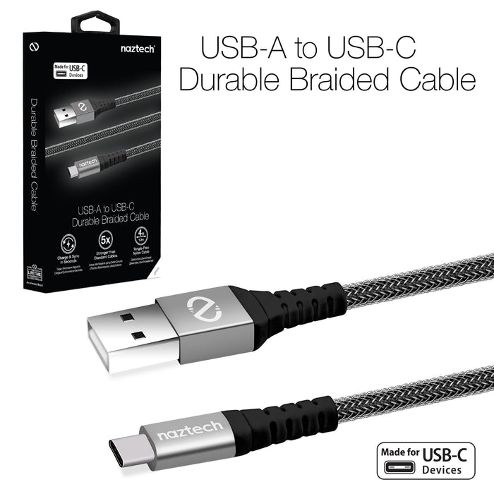 Naztech USB-A to USB-C Durable Braided 4ft. Charge & Sync Cable