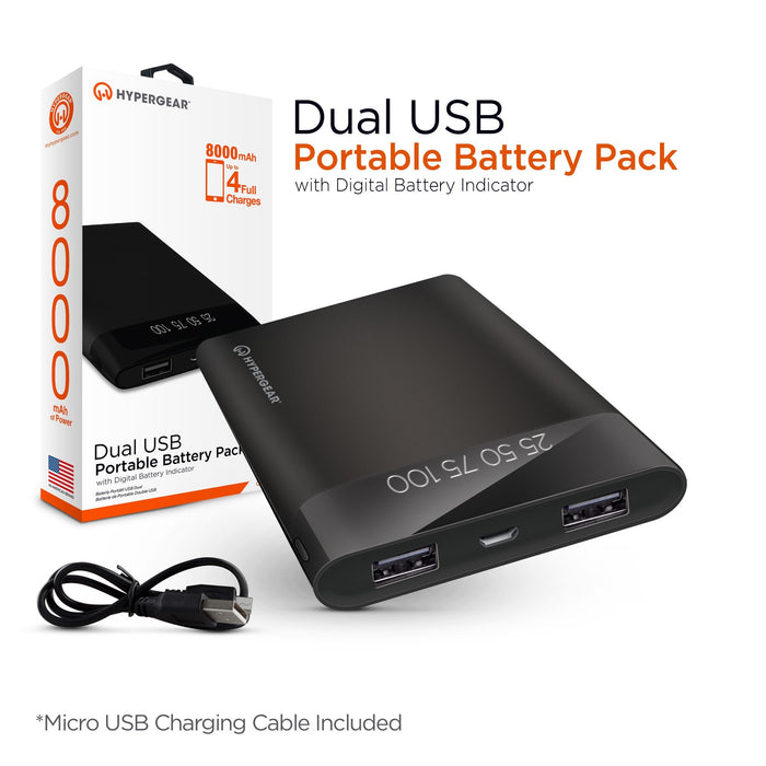 HyperGear 8000mAh Dual USB Portable Battery Pack with Digital Battery Indicator