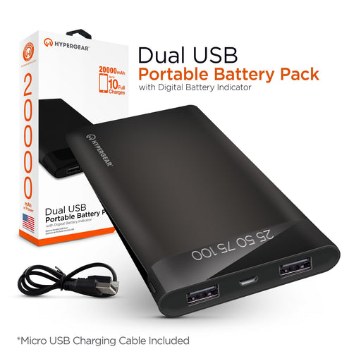 Dual USB Portable Power Bank with Digital Battery Indicator - 20000mAh
