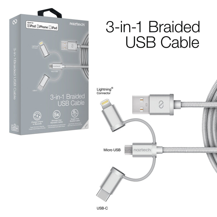 MFi Lightning Braided 3-in-1 Hybrid USB Cable