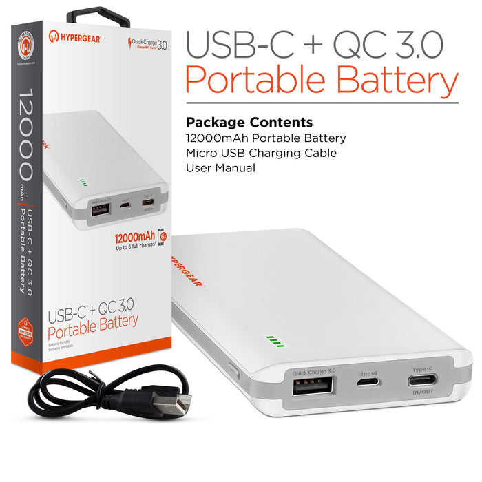 QC 3.0 Laptop/Tablet/Phone USB-C  Portable Power Bank 12000mAh