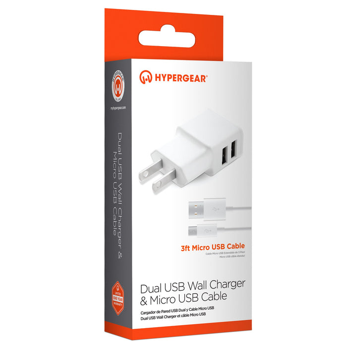Dual USB Wall Charger 2A & Micro USB Cable