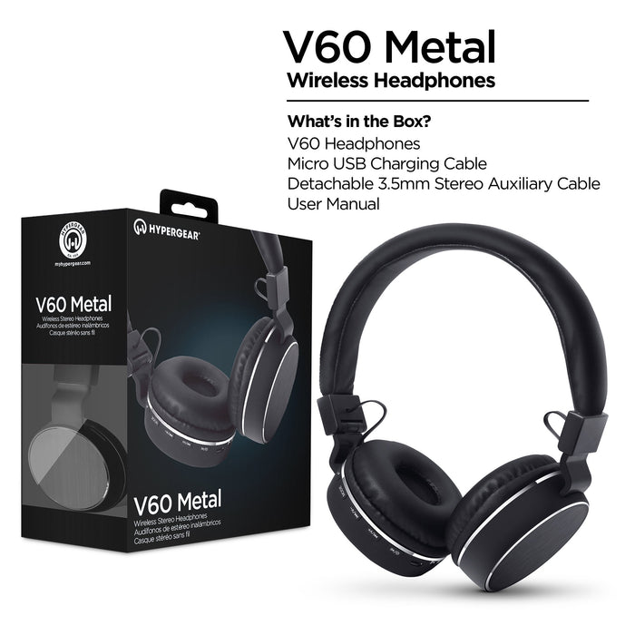 V60 Metal Wireless Headphones - Black